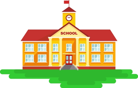 Foto de Classical school building isolated on white background - Imagen libre de derechos