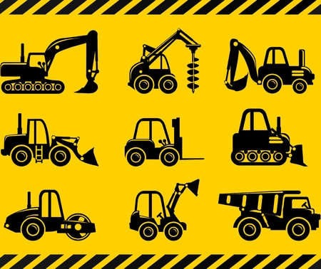 Illustration for Different kind of toys heavy equipment and machinery isolated on yellow background. Vector illustration. - Royalty Free Image