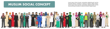 Social concept. Large group muslim arabic people professions occupation standing together in different suit and traditional clothes