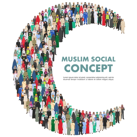 Social concept. Large group muslim arabic people professions occupation standing together in the shape of crescent in different suit and traditional clothes on white background in flat style. Vector.