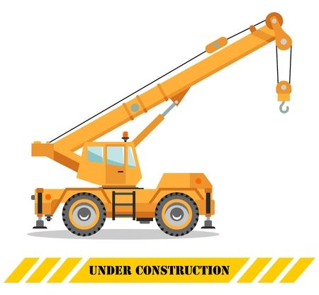 Ilustración de Detailed illustration of colored crane truck, heavy equipment and machinery. Vector illustration. - Imagen libre de derechos