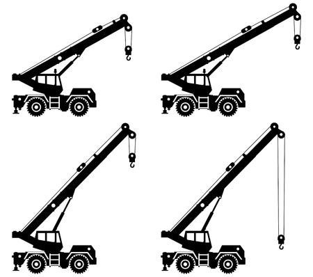 Ilustración de Silhouette of crane truck with different boom position. - Imagen libre de derechos