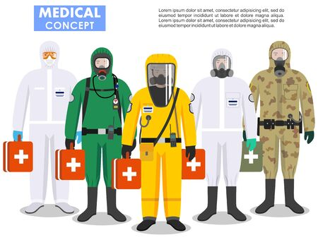 Illustration pour Medical concept. Detailed illustration different doctors in differences protective suits and masks on white background in flat style. Dangerous profession. Virus, infection, epidemic, quarantine. - image libre de droit