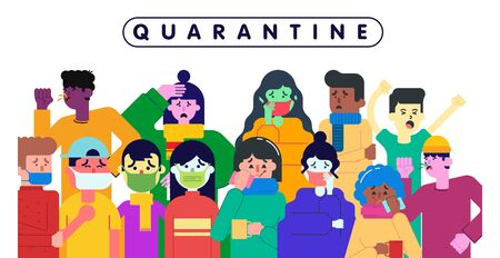 Illustration pour People who are quarantined because of the coronavirus pandemic illustration vector - image libre de droit