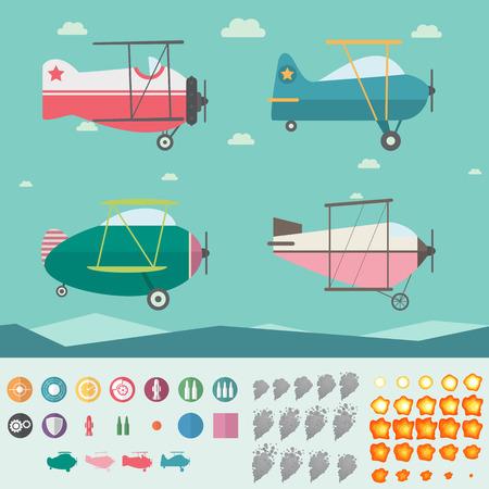 Illustration pour Plane Game Asset (Four Planes, Background, Icons, Smoke and Fire) - image libre de droit