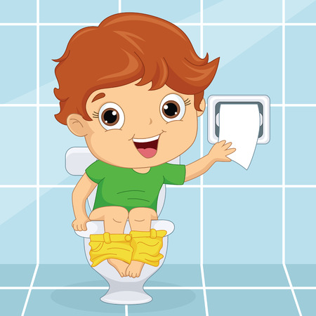 Illustration for Vector Illustration Of A Kid At Toilet - Royalty Free Image
