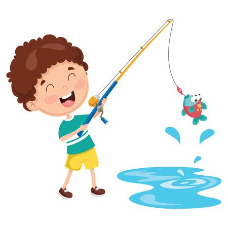 Illustration for Cartoon Illustration Of A Kid Fishing. - Royalty Free Image