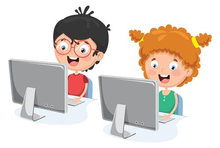 Illustration pour A Vector Illustration Of Kids With Computer - image libre de droit