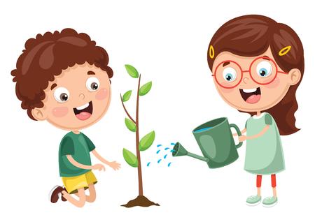 Ilustración de Vector Illustration Of Kids Planting and watering plants - Imagen libre de derechos