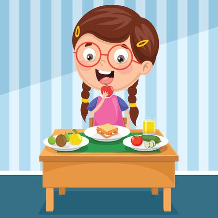 Vektor für Vector Illustration Of Kid Having Breakfast - Lizenzfreies Bild