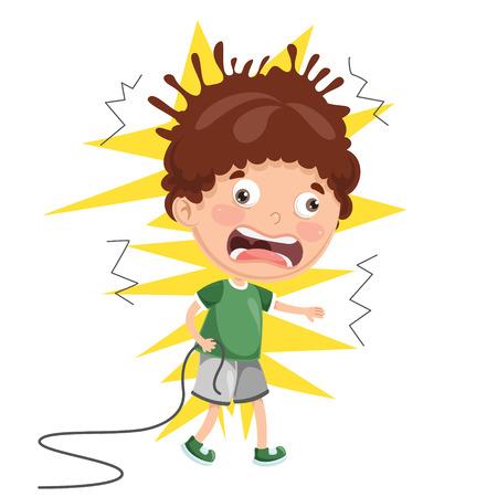 Illustration pour Vector Illustration Of Kid With Electric Shock - image libre de droit