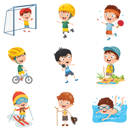 Photo for Vector Illustration Of Kids Making Sport - Royalty Free Image