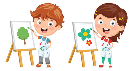 Illustration for Vector Illustration Of Kids Making Art Performance - Royalty Free Image