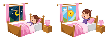 Illustration pour A Vector Illustration Of Kid Sleeping And Waking Up - image libre de droit