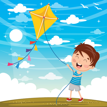 Illustration pour Vector Illustration Of Kid Playing Kite - image libre de droit