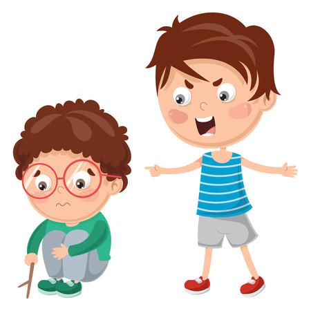 Illustration pour Vector Illustration Of Kid Shouting His Friend - image libre de droit