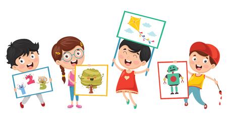 Ilustración de Vector Illustration Of Kids Painting - Imagen libre de derechos