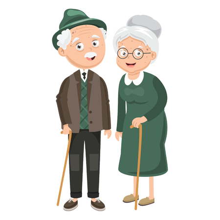 Illustration for Vector Illustration Of Grandparents - Royalty Free Image