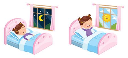 Illustration pour Vector Illustration Of Kid Sleeping - image libre de droit