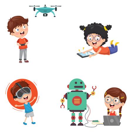 Illustration pour Vector Illustration Of Kids Technology - image libre de droit