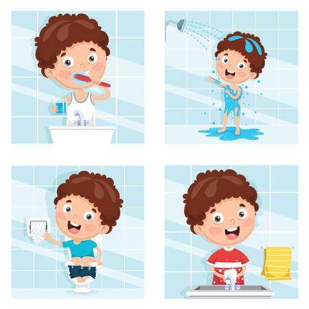 Illustration for Vector Illustration Of Kid Bathing, Brushing Teeth, Washing Hands After Toilet - Royalty Free Image