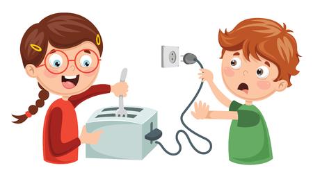 Illustration pour Vector Illustration Of Kids Electric Shock - image libre de droit