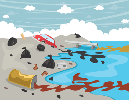 Illustration for Vector Illustration Of Water Pollution - Royalty Free Image