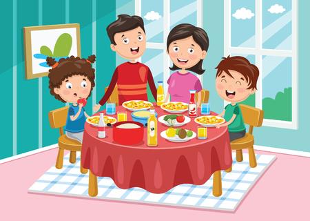 Ilustración de Vector Illustration Of Family Having Dinner - Imagen libre de derechos