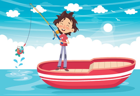 Ilustración de Vector Illustration Of A Kid Fishing - Imagen libre de derechos