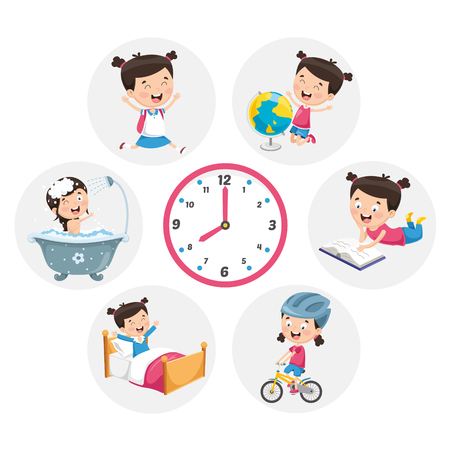 Illustration for Vector Illustration Of Kid Daily Routine Activities - Royalty Free Image