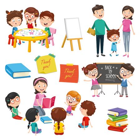Illustration pour Vector Illustration Of Education Elements - image libre de droit