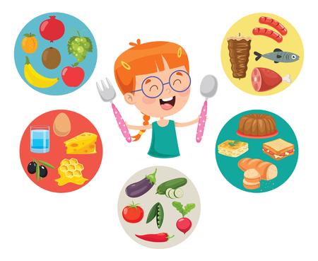 Ilustración de Vector Illustration Of Children Food Concept - Imagen libre de derechos