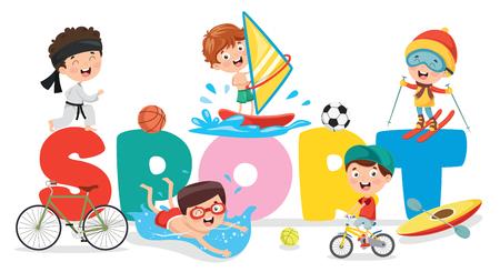 Illustration for Vector Illustration Of Children Sport Background - Royalty Free Image
