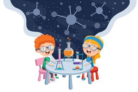 Ilustración de Little Students Doing Chemical Experiment - Imagen libre de derechos