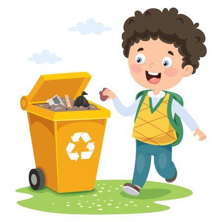 Ilustración de Kid Throwing Garbage In Trash Bin - Imagen libre de derechos