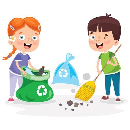 Ilustración de Little Children Cleaning And Recycling Garbage - Imagen libre de derechos