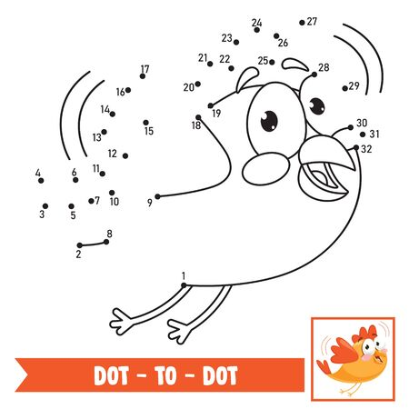 Illustration pour Dot To Dot Game Illustration For Children Education - image libre de droit