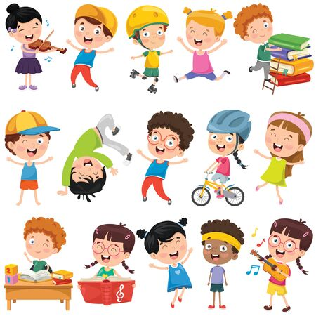 Illustration for Collection Of Little Cartoon Children - Royalty Free Image