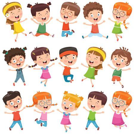 Illustration pour Collection Of Little Cartoon Children - image libre de droit
