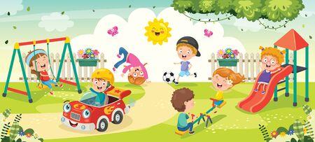 Illustration pour Children Playing In The Park - image libre de droit