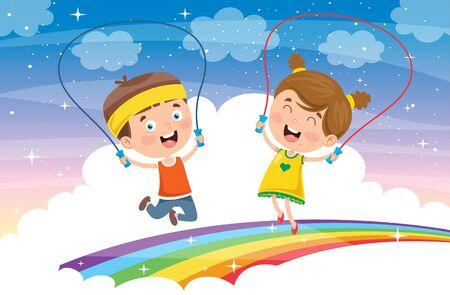 Foto für Little Happy Kids Skipping Rope - Lizenzfreies Bild