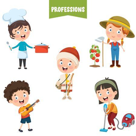 Illustration pour Cartoon Characters Of Different Professions - image libre de droit