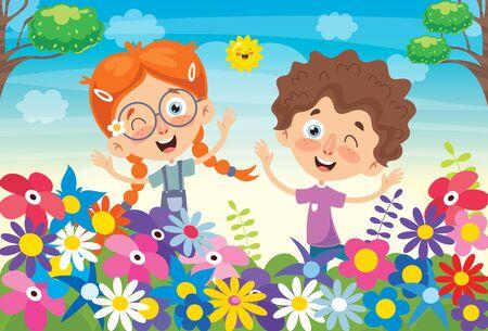Illustration pour Concept Design With Colorful Flowers - image libre de droit