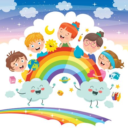 Illustration pour Concept Design With Funny Children - image libre de droit