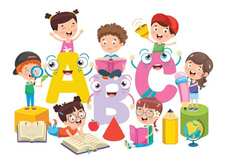Illustration for Education Concept Design With Little Children - Royalty Free Image