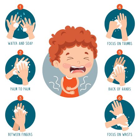 Illustration for Little Kid Infected By Virus - Royalty Free Image