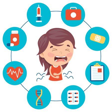 Illustration pour Little Kid Ä°nfected By Virus - image libre de droit