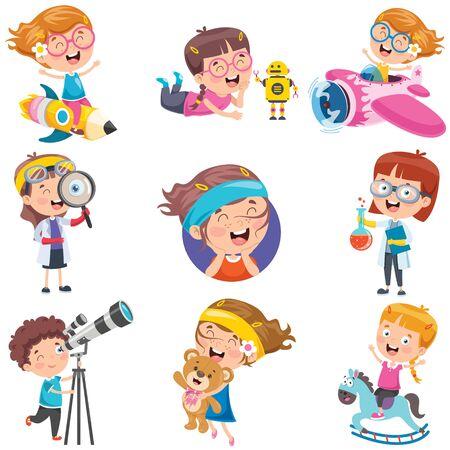 Illustration pour Cartoon Characters Doing Various Activities - image libre de droit