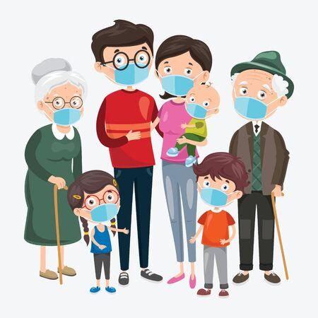 Illustration pour Health Concept Of People Wearing Medical Masks - image libre de droit
