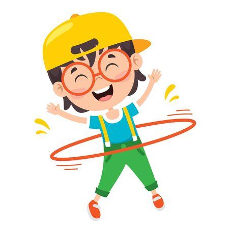 Illustration pour Happy Kid Doing Gymnastics Exercise - image libre de droit